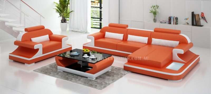 Fancy Homes Bruno-E chaise leather sofa in orange and white leather
