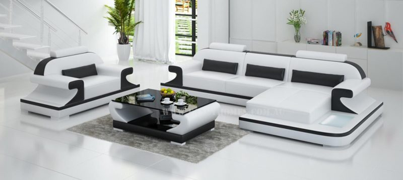 Fancy Homes Bruno-E chaise leather sofa in white and black leather