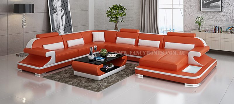 Fancy Homes Bruno modular leather sofa in orange and white leather
