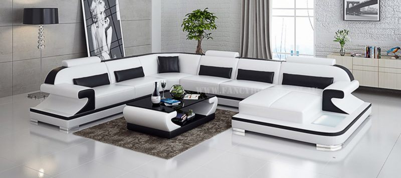Fancy Homes Bruno modular leather sofa in white and black leather