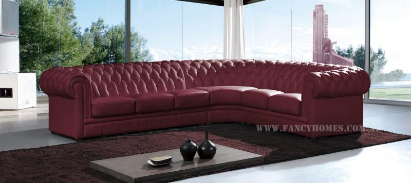 Fancy Homes Carmen-B chesterfield corner leather sofa in maroon leather