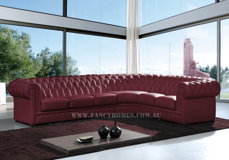 Fancy Homes Carmen-B corner leather sofa in maroon leather featuring chesterfield style is a truly timeless design