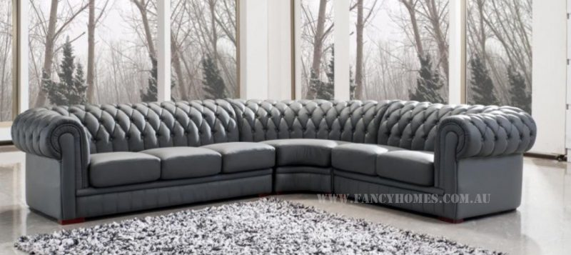 Fancy Homes Carmen-B chesterfield corner leather sofa in grey leather