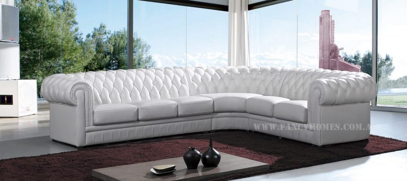 Fancy Homes Carmen-B chesterfield corner leather sofa in white leather