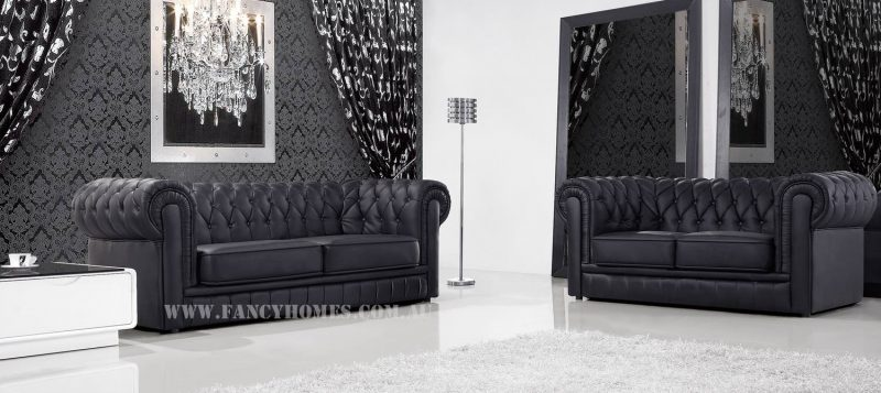 The three seater and two seater of Fancy Homes Carmen chesterfield lounges suites leather sofa in black leather