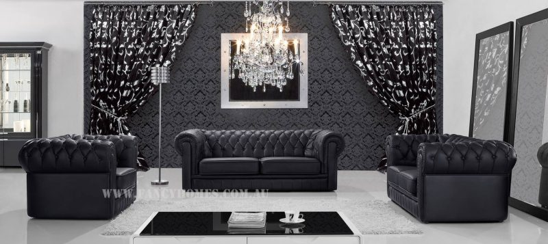 Fancy Homes Carmen chesterfield lounges suites leather sofa in black leather