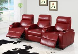 Fancy Homes Cinemax recliner leather sofa in red leather