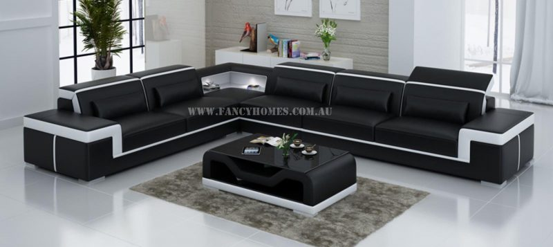 Fancy Homes Carrie-B corner leather sofa in black and white leather