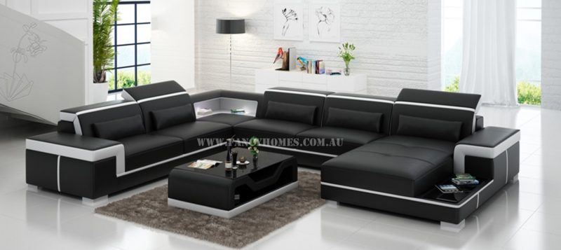 Fancy Homes Carrie modular leather sofa in black and white leather
