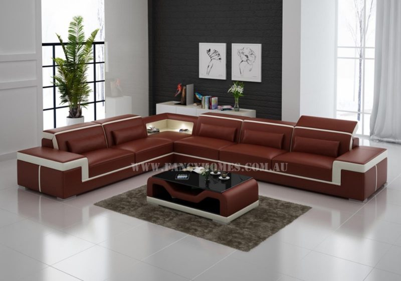 Fancy Homes Carrie-B corner leather sofa in maroon and white leather featured with stylish armrests, LED lighting systems and adjustable headrests