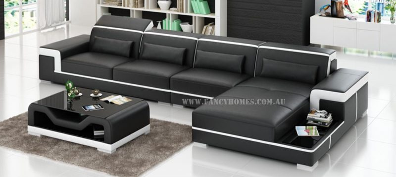 Fancy Homes Carrie-C chaise leather sofa in black and white leather