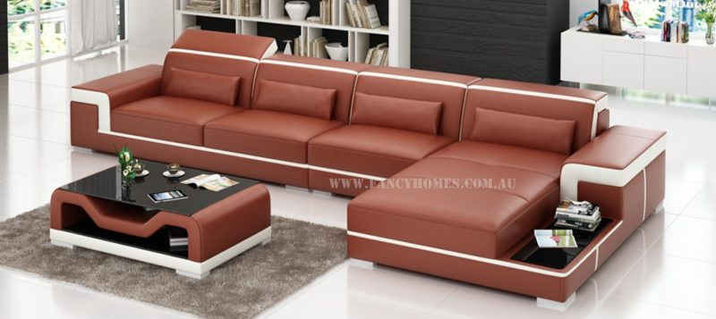 Fancy Homes Carrie-C chaise leather sofa in maroon and white leather