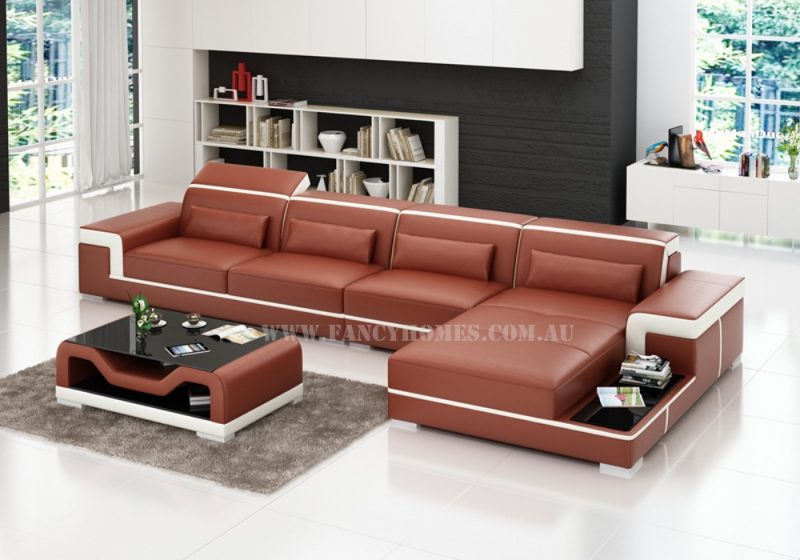 Fancy Homes Carrie-C chaise leather sofa in maroon and white leather featured with stylish armrests, adjustable headrests and built-in side table