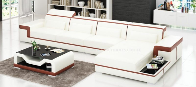 Fancy Homes Carrie-D chaise leather sofa in white and maroon leather