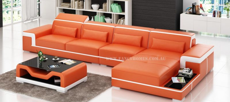 Fancy Homes Carrie-D chaise leather sofa in orange and white leather