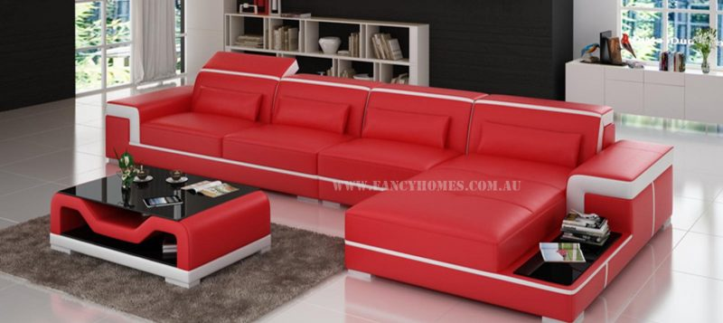 Fancy Homes Carrie-D chaise leather sofa in red and white leather