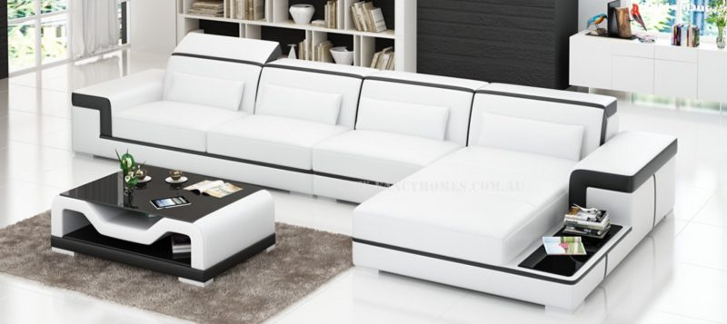 Fancy Homes Carrie-C chaise leather sofa in white and black leather