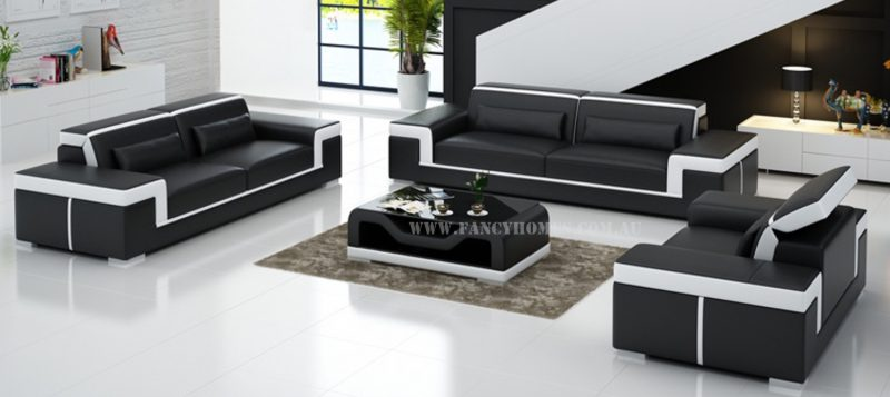 Fancy Homes Carrie-D lounges suites leather sofa in black and white leather