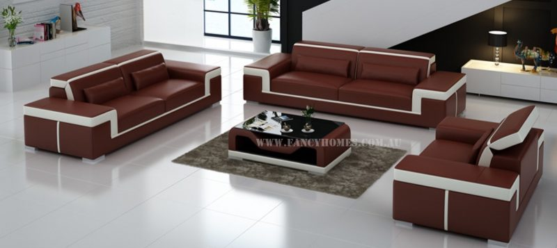 Fancy Homes Carrie-D lounges suites leather sofa in maroon and white leather