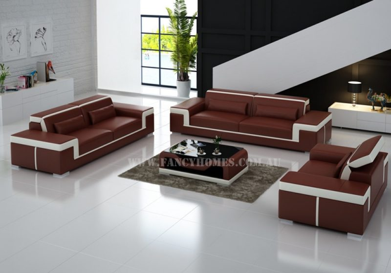 Fancy Homes Carrie-D lounges suites leather sofa in maroon and white leather featured with stylish armrests and adjustable headrests