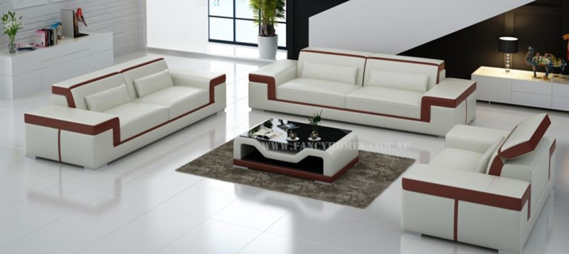 Fancy Homes Carrie-D lounges suites leather sofa in white and maroon leather
