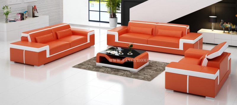 Fancy Homes Carrie-D lounges suites leather sofa in orange and white leather
