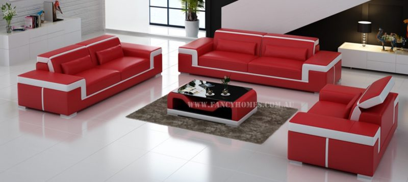 Fancy Homes Carrie-D lounges suites leather sofa in red and white leather