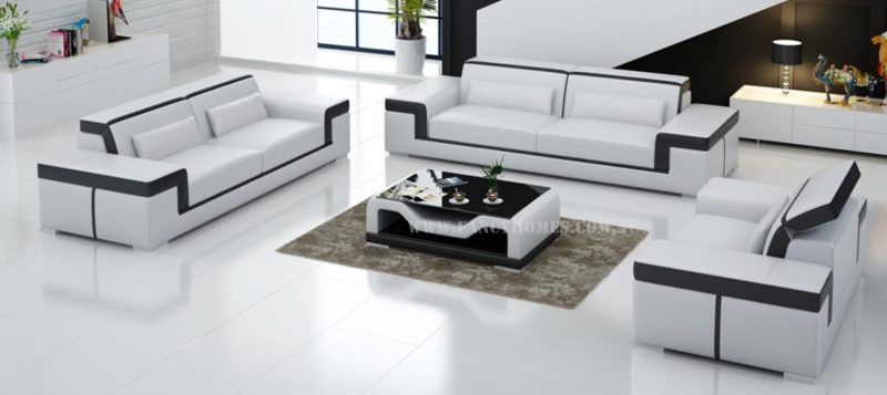 Fancy Homes Carrie-D lounges suites leather sofa in white and black leather
