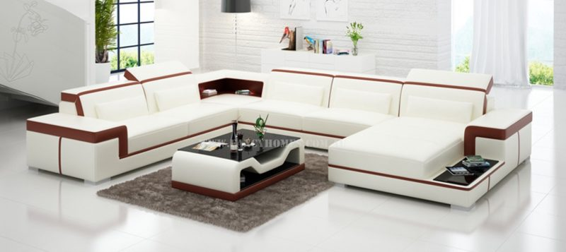 Fancy Homes Carrie modular leather sofa in white and maroon leather