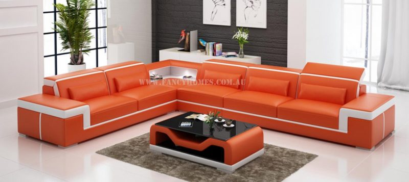 Fancy Homes Carrie-B corner leather sofa in orange and white leather
