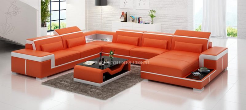 Fancy Homes Carrie modular leather sofa in orange and white leather