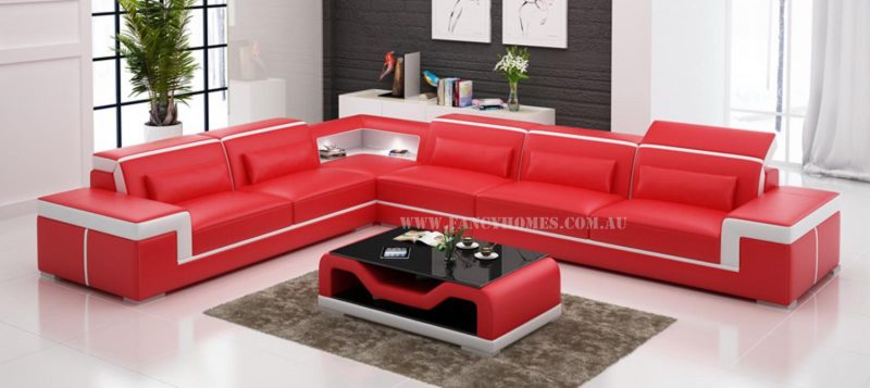 Fancy Homes Carrie-B corner leather sofa in red and white leather