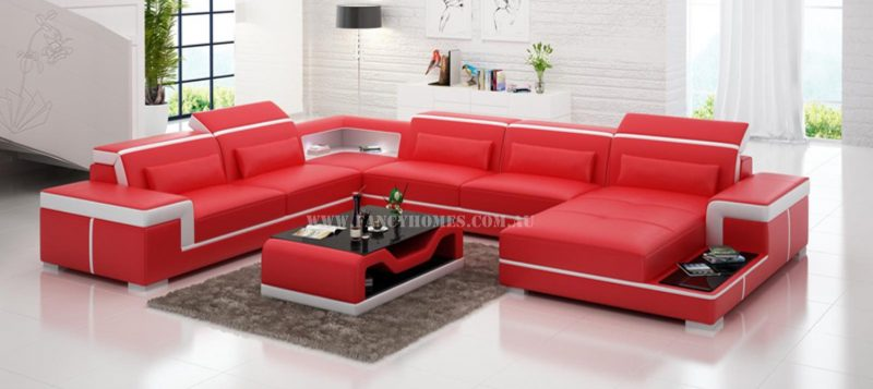 Fancy Homes Carrie modular leather sofa in red and white leather