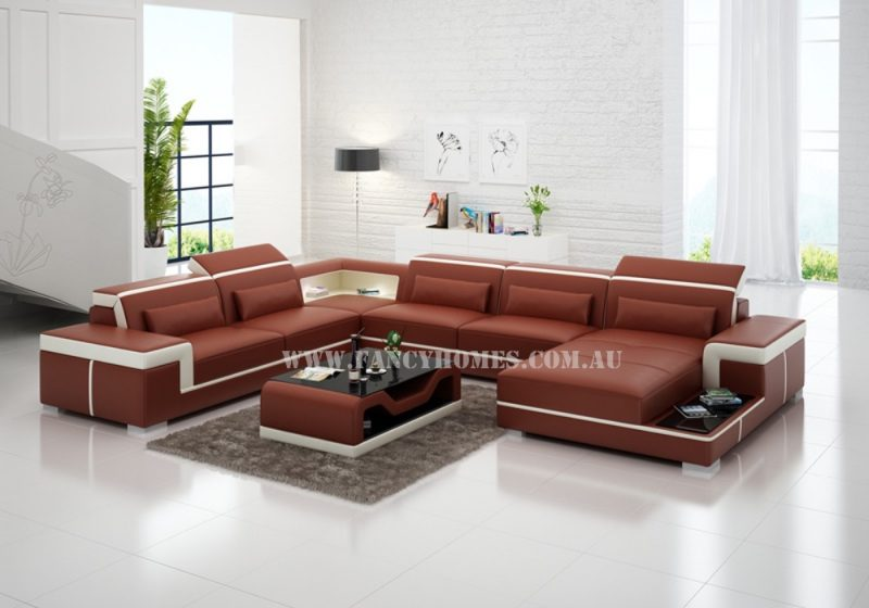 Fancy Homes Carrie modular leather sofa in maroon and white leather featured with built-in side table, adjustable headrests, LED lighting systems and stylish armrests