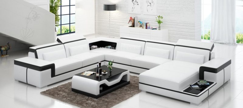 Fancy Homes Carrie modular leather sofa in white and black leather