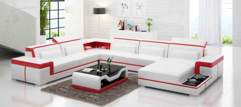 Fancy Homes Carrie modular leather sofa in white and red leather