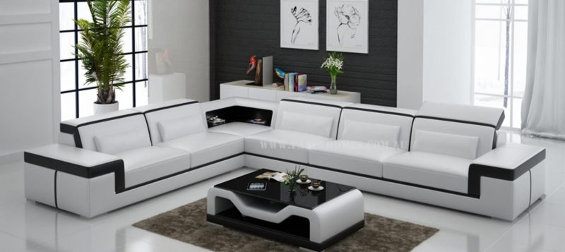 Fancy Homes Carrie-B corner leather sofa in white and black leather