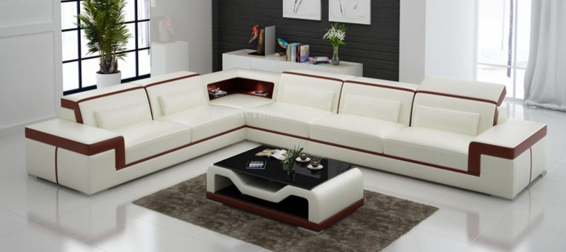 Fancy Homes Carrie-B corner leather sofa in white and maroon leather