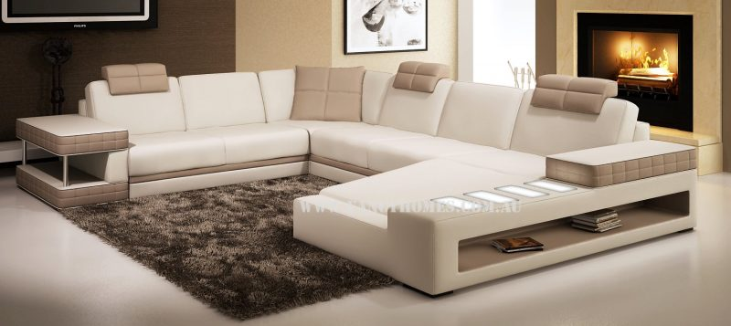 Fancy Homes Davis modular leather sofa in white and beige leather
