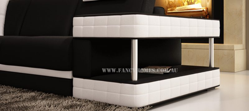 The armrest of Fancy Homes Davis modular leather sofa features storage and open-shelf displays