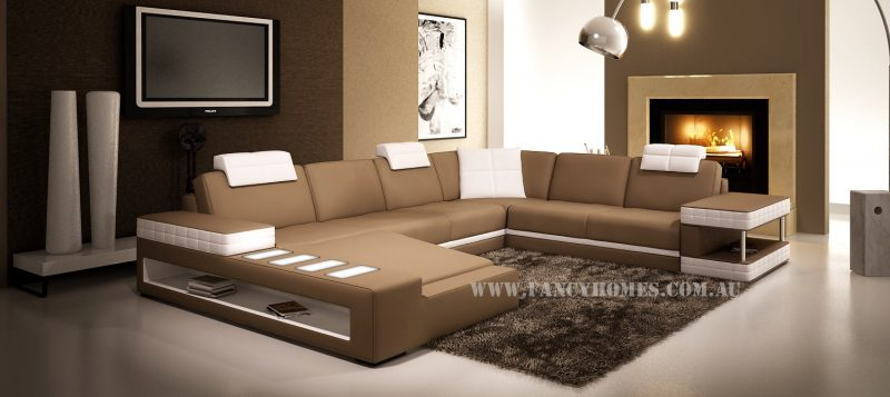 Fancy Homes Davis modular leather sofa in beige and white leather