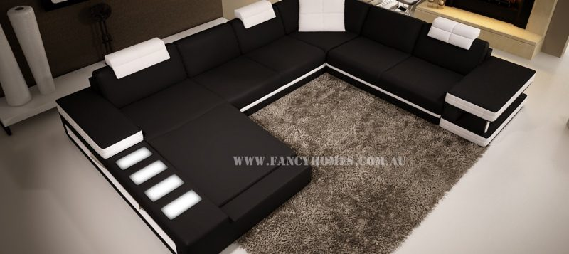 Fancy Homes Davis modular leather sofa in black and white leather