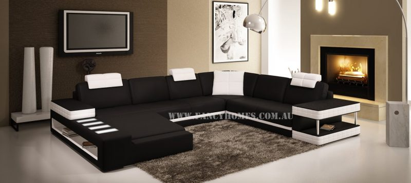 Fancy Homes Davis modular leather sofa in black and white leather with adjustable headrests, storage armrests and LED lighting system