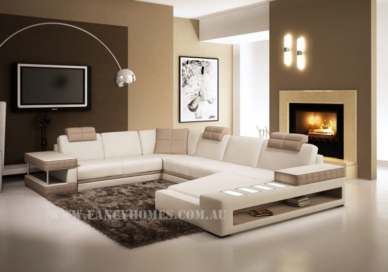 Fancy Homes Davis modular leather sofa in white and beige leather featuring storage armrests, adjustable headrests and LED lighting system