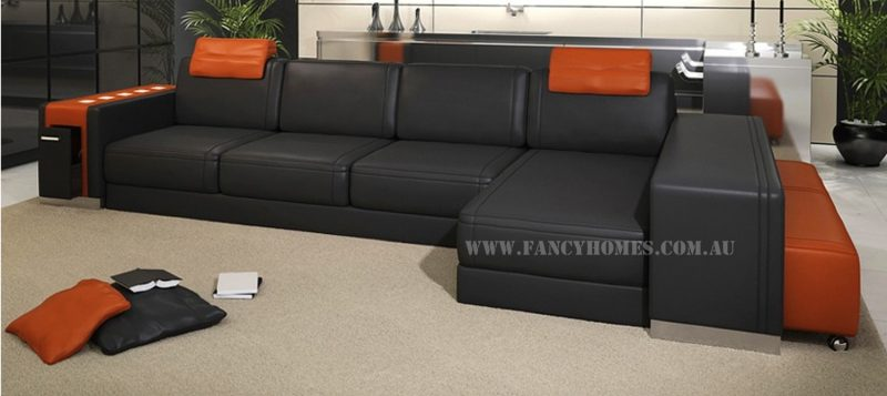 Fancy Homes Donata-B chaise leather sofa in black and orange leather