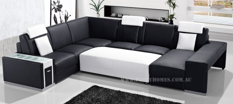Fancy Homes Donata modular leather sofa in black and white leather with removable ottoman