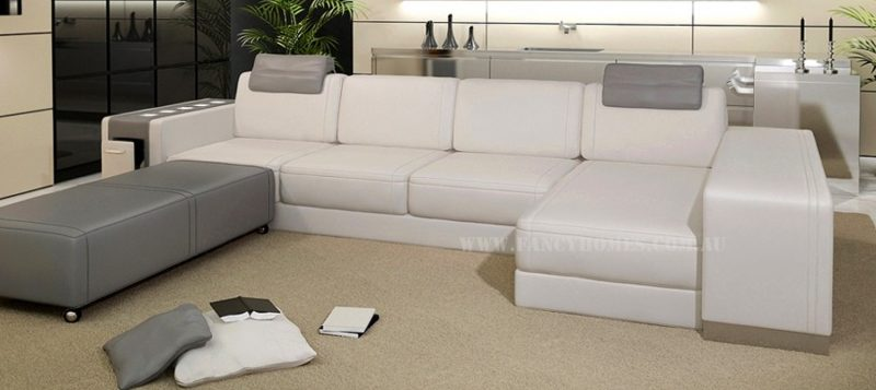 Fancy Homes Donata-B chaise leather sofa in white and grey leather