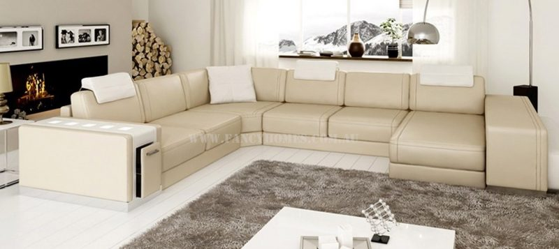 Fancy Homes Donata modular leather sofa in beige and white leather