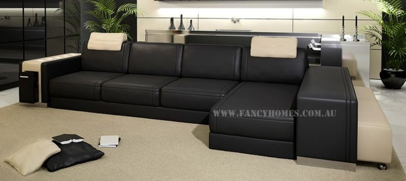 Fancy Homes Donata-B chaise leather sofa in black and beige leather