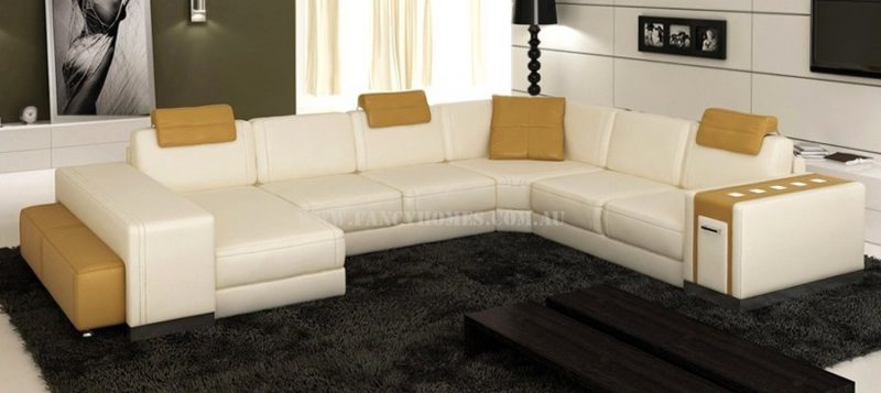 Fancy Homes Donata modular leather sofa in off-white and dark beige leather